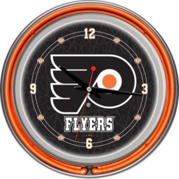 Philadelphia Flyers Chrome Double-Ring Neon Wall Clock