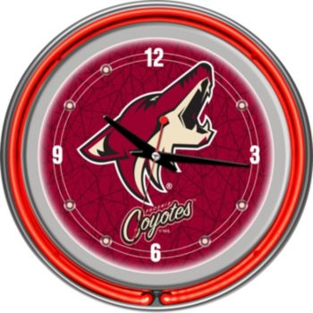 Phoenix Coyotes Chrome Double-Ring Neon Wall Clock