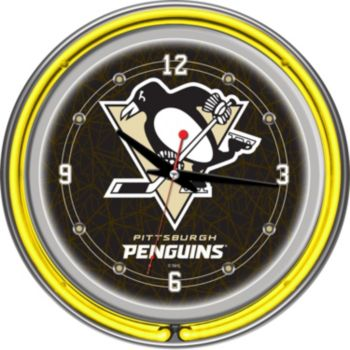 Pittsburgh Penguins Chrome Double-Ring Neon Wall Clock