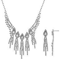 Crystal Allure Fringe Necklace & Linear Drop Earring Set