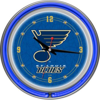 St. Louis Blues Chrome Double-Ring Neon Wall Clock