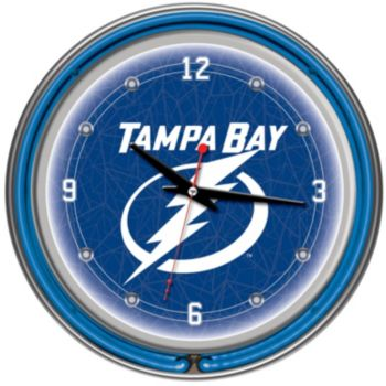 Tampa Bay Lightning Chrome Double-Ring Neon Wall Clock