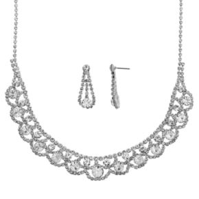 Crystal Allure Collar Necklace and Teardrop Earring Set
