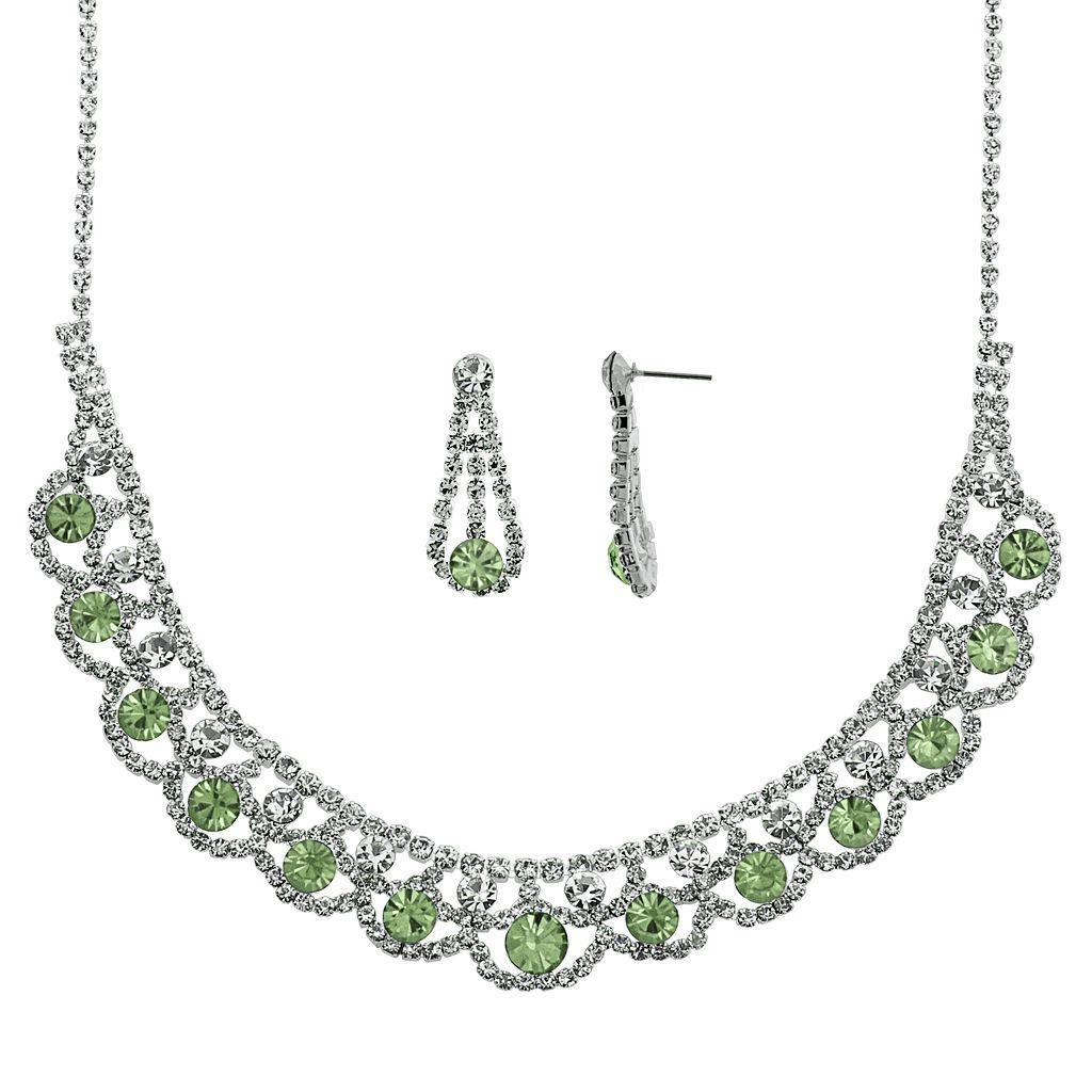 Crystal Allure Collar Necklace & Teardrop Earring Set