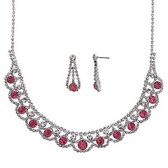 Crystal Allure Collar Necklace & Teardrop Earring Set