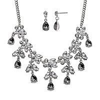 Crystal Allure Leaf & Teardrop Necklace & Earring Set