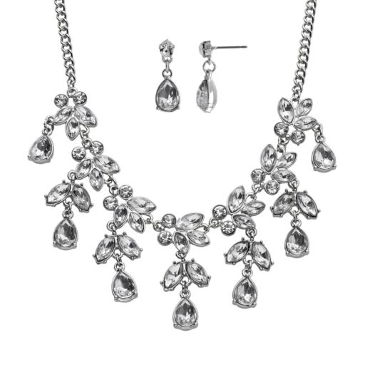 Crystal Allure Leaf and Teardrop Necklace and Earring Set
