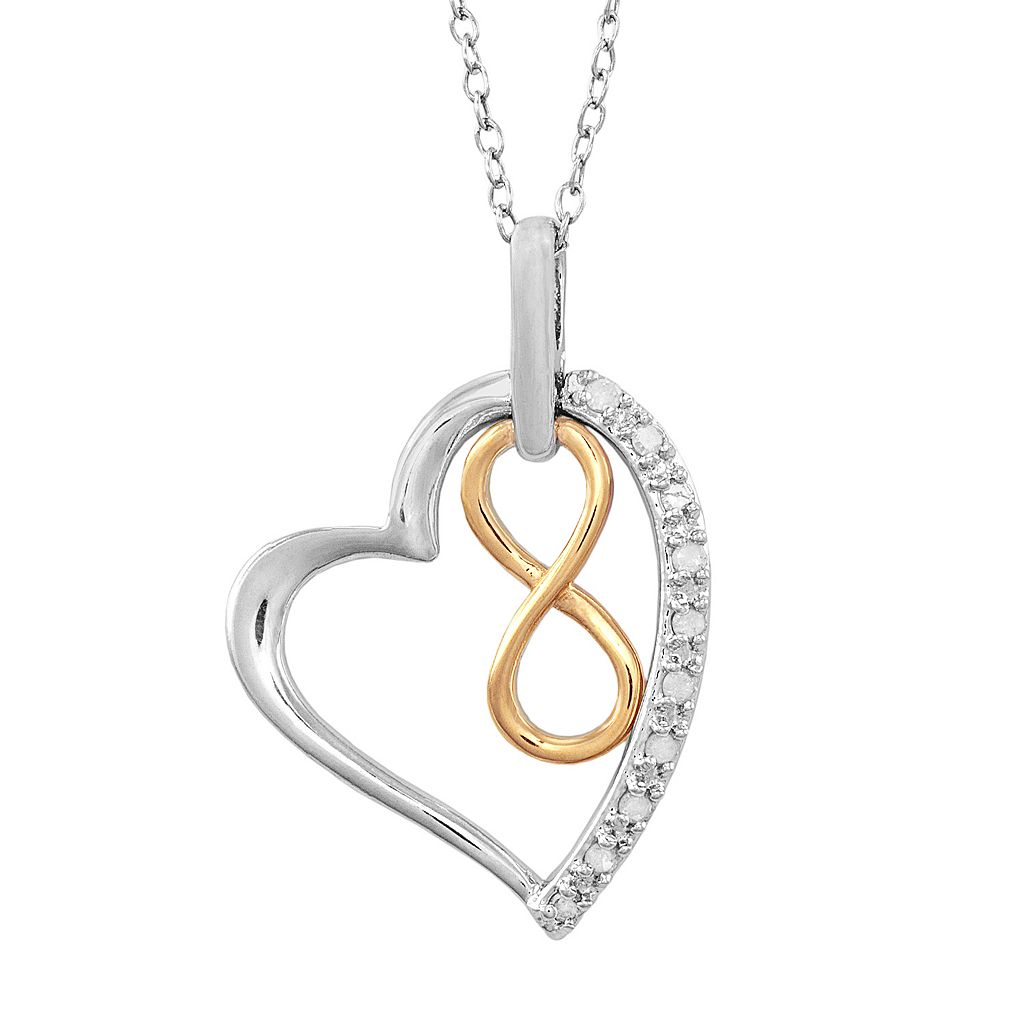 14k Gold Over Silver & Sterling Silver 1/10-ct. T.W. Diamond Infinity Heart Pendant