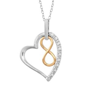 14k Gold Over Silver and Sterling Silver 1/10-ct. T.W. Diamond Infinity Heart Pendant