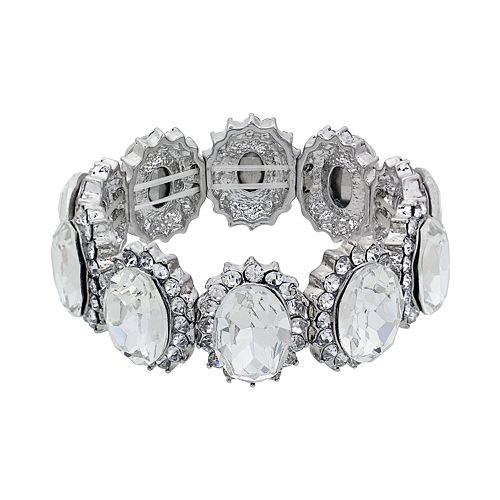 Crystal Allure Oval Link Stretch Bracelet