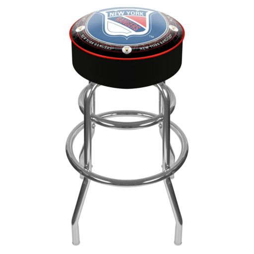 New York Rangers Padded Swivel Bar Stool