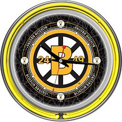 Boston Bruins Chrome Double-Ring Neon Wall Clock