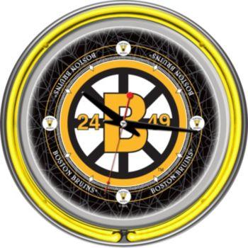 Boston Bruins Chrome Double-Ring Neon Wall Clock