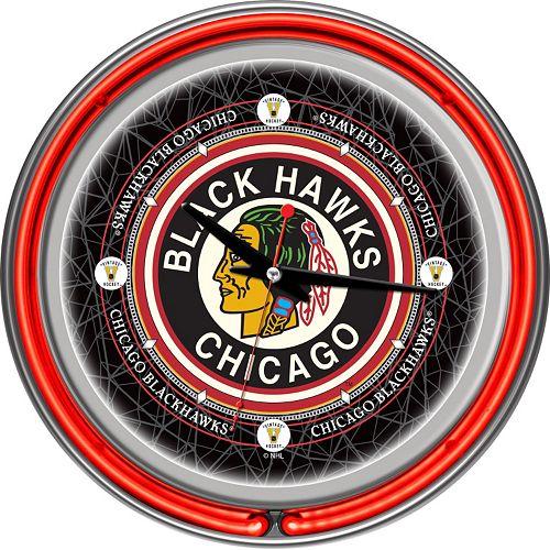 Chicago Blackhawks Chrome Double-Ring Neon Wall Clock