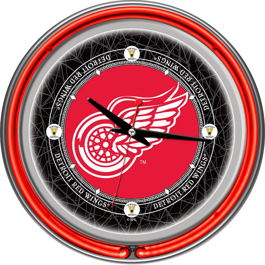 Detroit Red Wings Chrome Double-Ring Neon Wall Clock