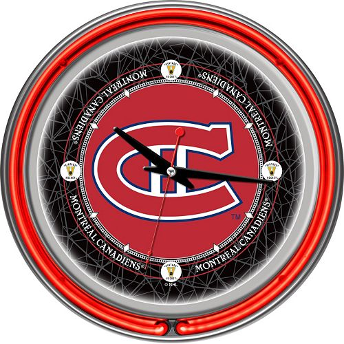 Montreal Canadiens Chrome Double-Ring Neon Wall Clock