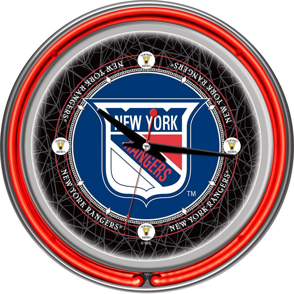 New York Rangers Chrome Double-Ring Neon Wall Clock