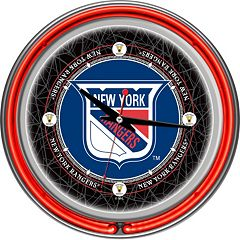 New York Rangers Chrome Double-Ring Neon Wall Clock