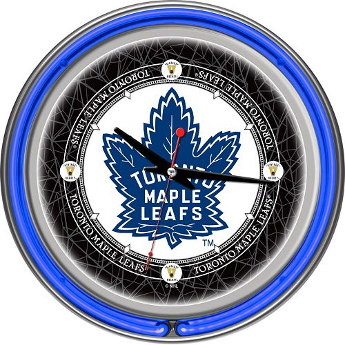 Toronto Maple Leafs Chrome Double-Ring Neon Wall Clock