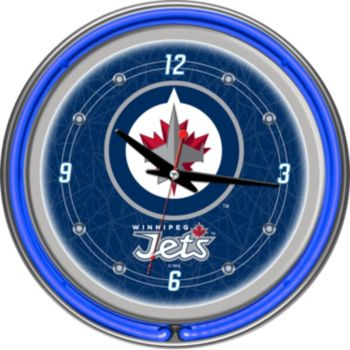 Winnipeg Jets Chrome Double-Ring Neon Wall Clock
