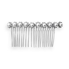 Crystal Allure Faux-Pearl Flower Hair Comb