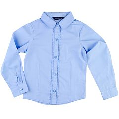 Girls 4-6x Chaps Ruffled Woven School Uniform Long-Sleeve Shirt