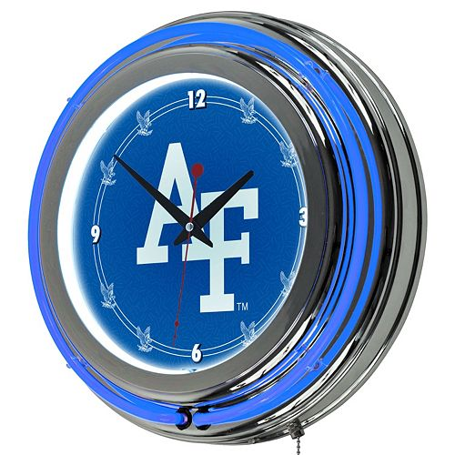 Air Force Falcons Chrome Double-Ring Neon Wall Clock