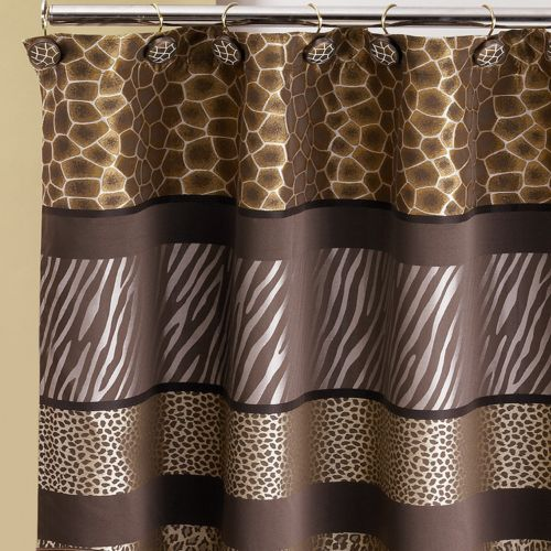 Details about SAFARI STRIPE Fabric shower curtain animal print giraffe ...