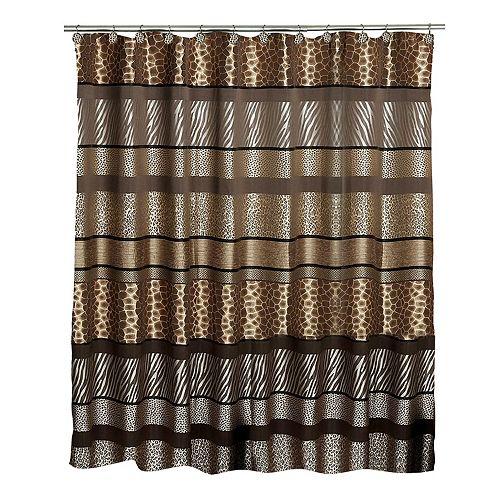 SAFARI STRIPE Fabric Shower Curtain Animal Print Giraffe