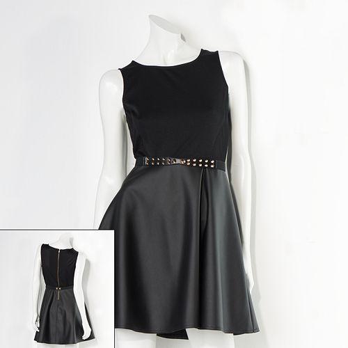 Juniors  Princess Vera Wang Faux Leather Skater Dress ba002502e
