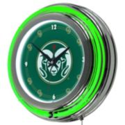 Colorado State Rams Chrome Double-Ring Neon Wall Clock