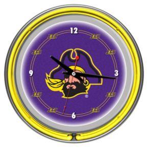 East Carolina Pirates Chrome Double-Ring Neon Wall Clock