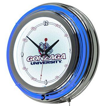 Gonzaga Bulldogs Chrome Double-Ring Neon Wall Clock