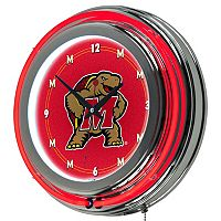 Maryland Terrapins Chrome Double-Ring Neon Wall Clock