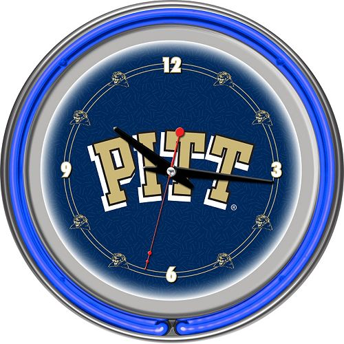 Pitt Panthers Chrome Double-Ring Neon Wall Clock