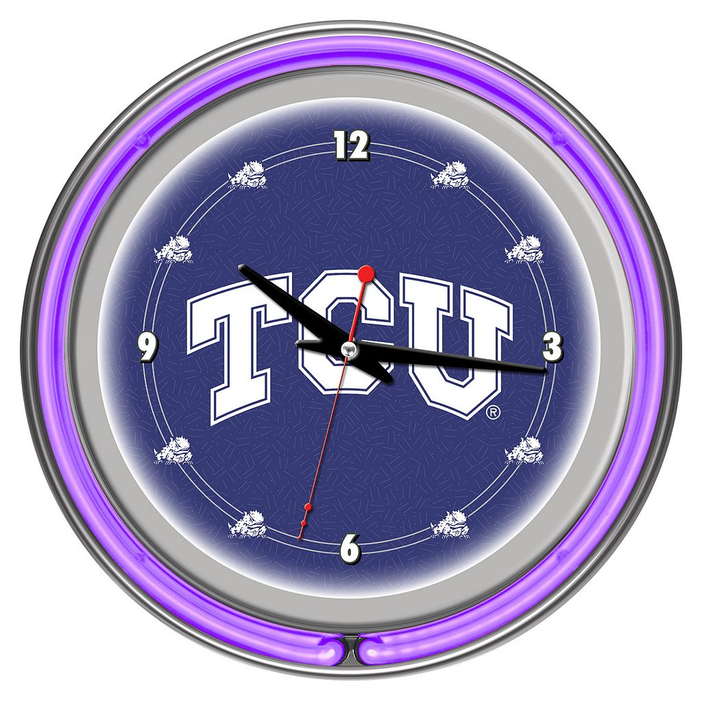 TCU Horned Frogs Chrome Double-Ring Neon Wall Clock