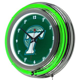 Tulane Green Wave Chrome Double-Ring Neon Wall Clock