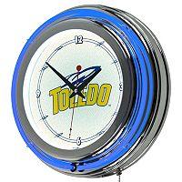 Toledo Rockets Chrome Double-Ring Neon Wall Clock