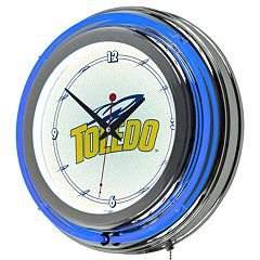 Toledo Rockets Chrome Double-Ring Neon Wall Clock
