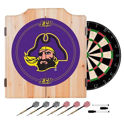 East Carolina Pirates Wood Dart Cabinet Set