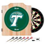 Tulane Green Wave Wood Dart Cabinet Set