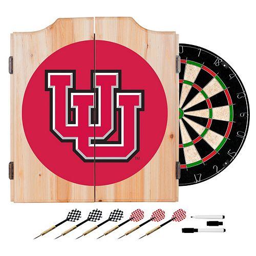 Utah Utes Wood Dart Cabinet Set