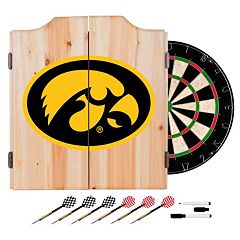Iowa Hawkeyes Wood Dart Cabinet Set