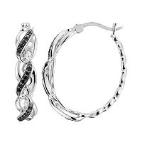 Sterling Silver Black Spinel Crisscross Hoop Earrings