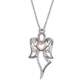 18k Rose Gold Over Silver and Sterling Silver 1/10-ct. T.W. Diamond Angel Pendant