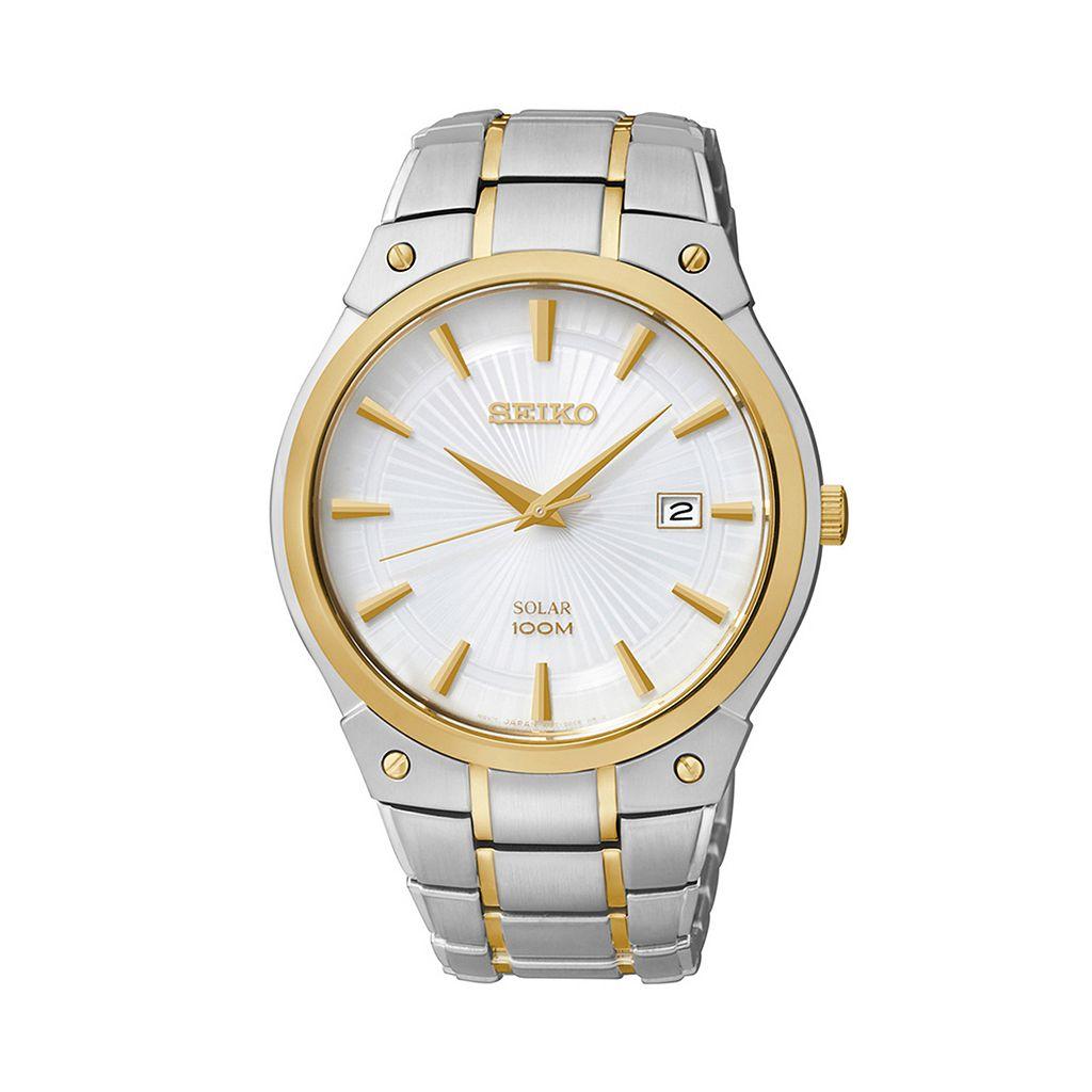 Seiko Men's Two Tone Stainless Steel Solar Watch - SNE324