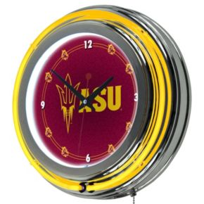 Arizona State Sun Devils Chrome Double-Ring Neon Wall Clock