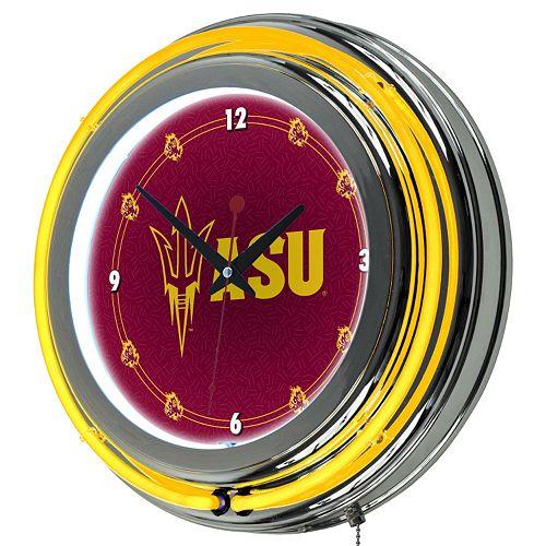 Arizona State Sun Devils Chrome Double-Ring Neon Wall Clock