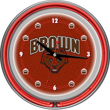 Brown Bears Chrome Double-Ring Neon Wall Clock