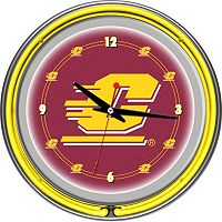 Central Michigan Chippewas Chrome Double-Ring Neon Wall Clock